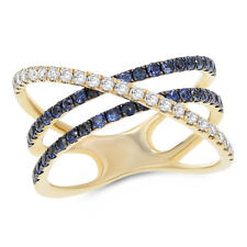 14K Yellow White Gold Pave Diamond Blue Sapphire Crossover Right Hand Ring