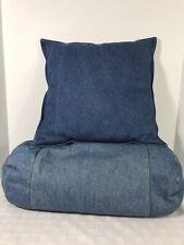 Denim Blue Square Pillow Roll Pillow Set 2 Durable College Dorm
