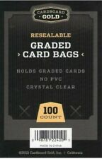 100 (1 Pack) Cardboard Gold Resealable Graded Card Bags! Fits PSA, CGC, BGS!!