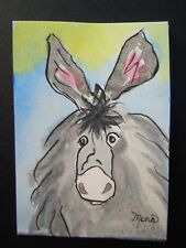 """Aceo Original Watercolor painting~ Mr. Mule ~2.5 x 3.5"""" ~ Small Painting"""