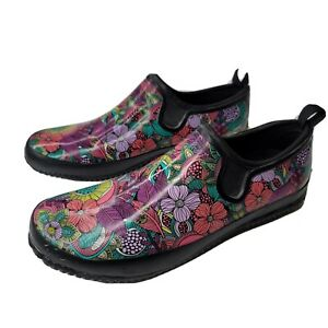Western Chief Womens Floral Fantasy Neoprene Step In SIZE 11 Garden Shoes Black