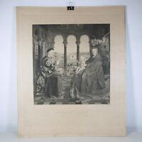 R593 ANTICA STAMPA CALCOGRAFIA MUSEO LOUVRE LA VIERGE D'AUTUN JAN VAN EYCK
