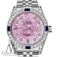 Rolex 26mm Datejust Pink Flower MOP Dial with Sapphire & Diamond Bezel Watch