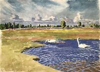 Karl Adser 1912-1995 Schwäne im Teich Sommertag Schweden Skandinavien