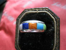 Sterling Silver Ring set w/ TURQUOISE, LAPIS, CORAL + + 925 WJ Waldeck NM Size 6