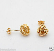 Love Knot Loveknot Rosa Rope Earrings Real 14K Yellow Gold