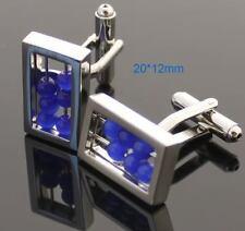 Boutons de manchette Bijoux Chemise RECTANGLE GRIS + Bille bleu Jeux 606
