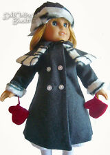 "Gray Wool Winter Coat Mittens Hat Cape for 18"" American Girl Nellie Dolls Repro"