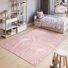 Kinderteppich Kurzflor Rosa Weiß Schmetterling Blumen Pastellfarben Kinderzimmer