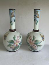 "PAIR Antique Hand Painted OPALINE Art Glass Vases Flower w Butterflies 12.5"""
