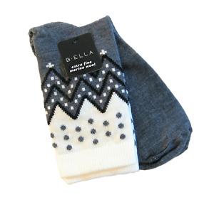 B. Ella Ladies 72% X-Fine Merino Wool Blend Crew Socks Karena Grey Black Ivory