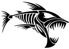 2 Aufkleber Angry Fish 8 Fisch Auto Sticker Decal 17 Cm Tuning JDM