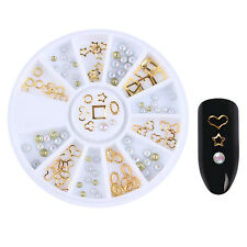 Gold Hollow Heart Star Oval Circle 3D Nail Decoration with Bead Manicure Tips