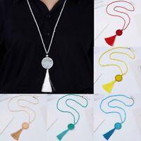 Fashion Tassel Beads Women Long Sweater Necklace Pendant Charm Jewelry Handmade