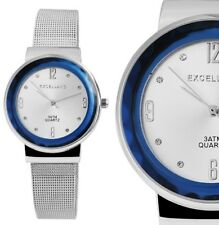 Excellanc modische Meshband Armbanduhr Silber blaue Quartz analog Damenuhr