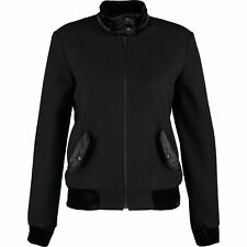 FRED PERRY Women's Black Wool & Velvet Harrington Jacket, size UK10
