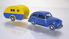 Wiking 082004 Ford Taunus G73A mit Wohnanhänger blau gelb Scale 1 87 NEU OVP