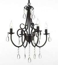 Wrought Iron and Crystal 4 Light Rustic Chandelier Pendant Light Lighting