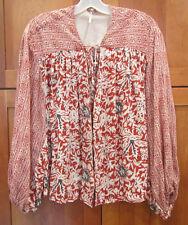 FREE PEOPLE Red Cream Gray Floral Kimono Dolman Sleeve Light Weight Cardigan M
