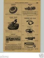 1924 PAPER AD Johnson's Folding Paper Duck Decoys Solid White Cedar Glass Eyes