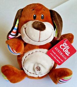 Elka Soft Stuffed Toy 15cm Dog, 18cm Rainbow Design Rhino or Dinosaur or Frog