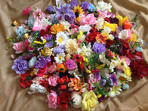 ARTIFICIAL FLOWER HEADS JOB LOT faux fake silk flowers craft wedding floral rose