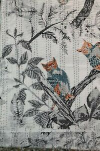 Indian Owl Bird Summer Kantha Quilt Gray Queen Cotton Bedspread Bedding Blanket