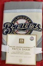 Pottery Barn Teen MLB Milwaukee Brewers Patch Sham, Standard 26x20in, Grey