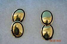 Tiffany & Co Cufflinks Rare 18K Gold Ovals Black Enamel Box & Pouch 29 Grams EUC