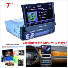 "7"" HD 1 DIN Car Bluetooth MP3 MP5 Player Stereo Rear View Audio Radio FM AUX USB"