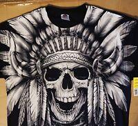 Native American Indian Warrior Chief Skull Halloween Art T Shirt Mens S-3XL New