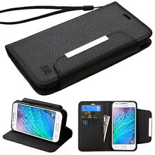 FOR SAMSUNG Galaxy J7 2015 J700P phone BLACK WALLET STRAP ACCESSORY COVER CASE