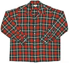 Vtg 50s VIYELLA Loop Collar Board Shirt LARGE Red Green Tartan Plaid ROCKABILLY