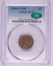 1909 S VDB WHEAT CENT LINCOLN PENNY COIN PCGS XF40 CAC