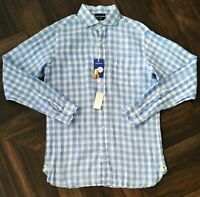 Daniel Cremieux Slim Fit Baby Blue White Checked Long Sleeve Linen Shirt XL Nwt