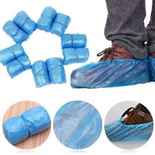 100Pcs Disposable Plastic Shoe Covers Carpet Cleaning Blue Overshoe Practical