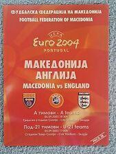 2003 - MACEDONIA v ENGLAND PROGRAMME - EURO 2004 QUALIFIER