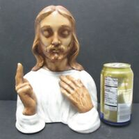 """Vintage Ceramic Jesus Christ Blessing 10"""" Tall Holland Mold Hand Painted"""