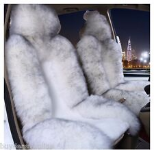 1pc Real White with tips  Fur Sheepskin Car Seat Covers one Size Fit most