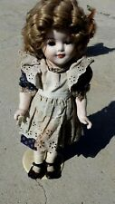 """Shirley Temple Doll 16"""" Bisque real hair and eyelashes old original dress"""
