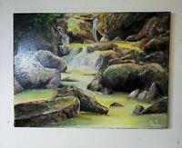 Peinture paysage représentant une cascade a l`huile format 30/40 cm sur toile
