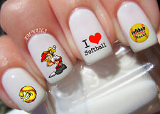 I Love Softball Nail Art Stickers Transfers Decals Set of 36