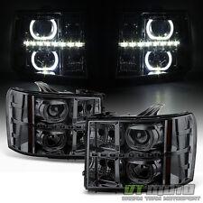 Smoke 2007-2013 GMC Sierra 1500 2500HD 3500 HD SMD LED Halo Projector Headlights