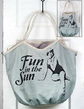"""Beach Bag Fun in the Sun Soft Green Canvas with Old Fashioned Bathing Beauty 17"""""""