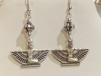 NEW ITEM-EGYPTIAN REVIVAL ISIS EARRINGS. Silver Tone