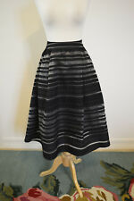JOA Los Angeles Black Lace A-line Textured Midi formal party Skirt S SMALL