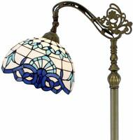 Floor Lamp with Blue Baroque Stained Glass Lampshade