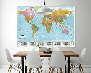 """World Map Poster Wall Geography Flags Large Country Home Decor 55""""X39"""" Detailed"""
