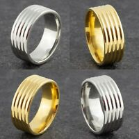 8mm Stainless Steel Comfort Fit Ring - Mens & Womens Gold or Silver Wedding Band