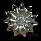 Chic Mate Pulido Plata Flor Margarita Floral Bloom Anillo Cristales Swarovski